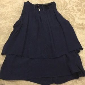 J. Crew pleated navy blue tiered blouse size 4